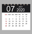 business calendar 2020 july notebook isolated vector image vector image