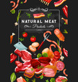 butcher shop meat and veggies steaks and knives vector image vector image