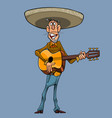 cartoon singer in a sombrero plays the guitar vector image