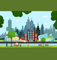city park with river buildings and cars on street vector image vector image