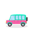 colored modern car with flowers pattern isolated vector image