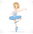 Cute ballerina girl dancing in blue dress vector image vector image