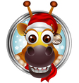 cute christmas giraffe head cartoon vector image vector image