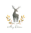 deer or reindeer silhouette romantic wreath with vector image vector image