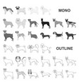 dog breeds monochrom icons in set collection for vector image vector image