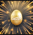 easter background with shining golden egg and vector image vector image