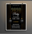 elegant black and gold new year party flyer vector image vector image