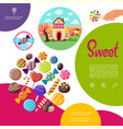 flat sweet products template vector image vector image