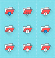 Folder icons icon set in flat design style For web vector image vector image