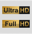 full hd and ultra hd labels vector image