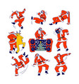 funny santa claus and reindeer dancing christmas vector image vector image
