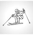 Giant Slalom Ski Racer outline silhouette vector image vector image
