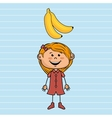 girl cartoon fruit food vector image vector image
