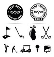 golf black icon and symbol vector image vector image