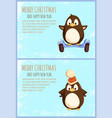 greeting penguin in hat balancing on segway vector image vector image