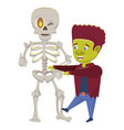 halloween skeleton and frankenstein characters vector image vector image