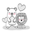 happy bear and lion animals with hearts vector image vector image