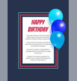 happy birthday poster inflatable balloons in frame vector image vector image