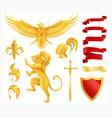 heraldic animals set vector image vector image