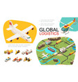 isometric global transportation infographics vector image vector image