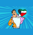 kuwait patriot male sports fan flag heart vector image vector image