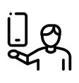 man hold phone icon outline vector image vector image