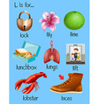 Many words begin with letter L vector image vector image