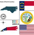 Map of North Carolina with seal vector image vector image