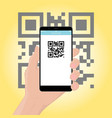 mobile phone smartphone in hand scans the qr vector image