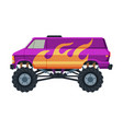 monster truck vehicle colorful van with large vector image vector image