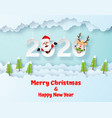 origami paper art santa claus and reindeer on vector image vector image