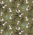 penis funny floral seamless pattern freenery vector image vector image