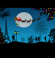 people at night in paris with santa claus vector image vector image