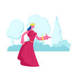 princess or queen in red dress with crown on head vector image
