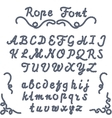 Rope font nautical hand written Letters vector image vector image