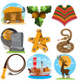 set of color on the theme of the wild west vector image vector image