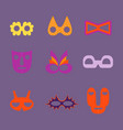 set of different carnival and tribal masks vector image