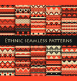 set of seamless in ethnic style tribal textiles vector image vector image