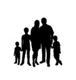 silhouettes parents with three sons vector image vector image