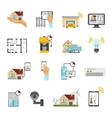 Smart House Flat Icon Set vector image