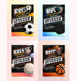 sport flyer ad set soccer football hockey vector image