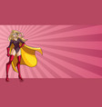 superheroine standing tall ray light background vector image vector image