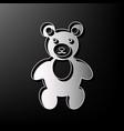 teddy bear sign gray 3d vector image
