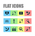 telecommunication icons set with talking internet vector image vector image
