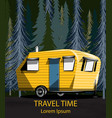 travel car in the forrest camping trailer vector image