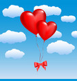 two balloons in the shape of hearts on a sky vector image
