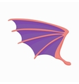 Violet dragon wing icon cartoon style vector image