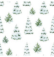 watercolor fir tree christmas pattern vector image