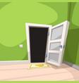 white opened door in green room vector image vector image