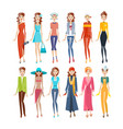 women in different clothes evening sportswear vector image vector image